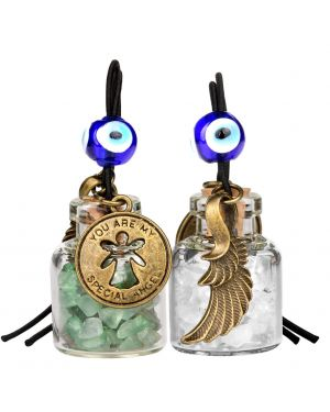 Guardian Angel Wings Magic Powers Small Car Charms Home Decor Gem Bottles Green Rock Quartz Amulets