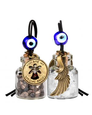 Guardian Angel Wings Magic Powers Small Car Charms Home Decor Bottles Smoky Crystal Quartz Amulets