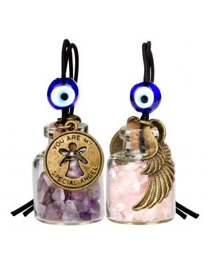 Guardian Angel Wings Magic Small Car Charms or Home Decor Gem Bottles Amethyst Rose Quartz Amulets