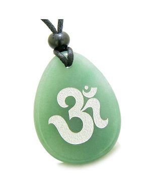 Amulet Ancient OM Tibetan Symbol Magic Spiritual Green Aventurine Wish Totem Pendant Necklace