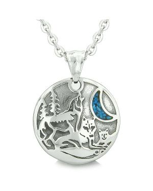 Unity Amulet Howling Wolf Family Wild Moon Powers Man Made Turquoise Chips Pendant Necklace