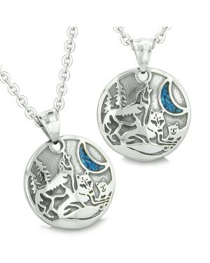 Unity Amulets Love Couple or Friendship Set Howling Wolf Family Wild Moon Power Turquoise Necklaces