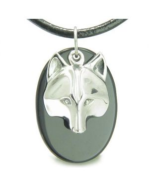 Amulet ProtectiWise Wolf Mask Spiritual Powers Black Onyx Gemstone Charm Pendant Necklace
