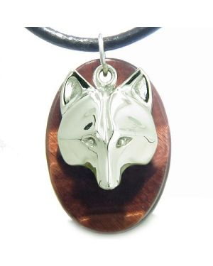 Amulet ProtectiWise Wolf Mask Evil Eye Protection Powers Red Tiger Eye Pendant Necklace