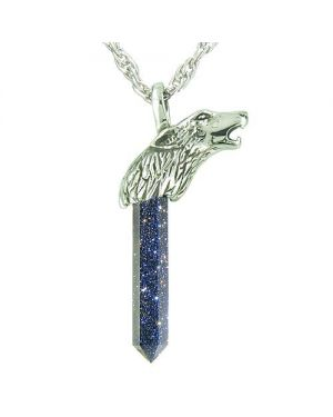 Courage Protection Powers Wolf Head Amulet Crystal Point Lucky Charm Goldstone pendant Necklace