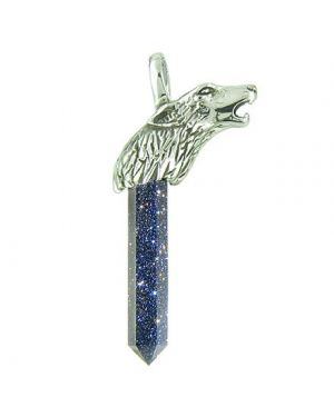 Courage Protection Powers Wolf Head Amulet Crystal Point Lucky Charm Blue Goldstone Pendant