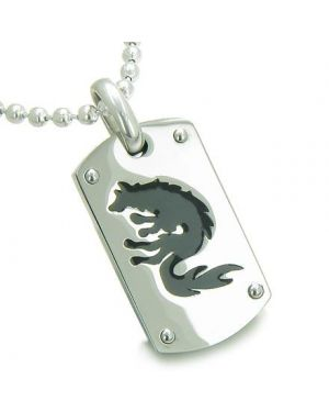 Amulet Brave Black Wolf Protection Dog Tag Pendant Necklace