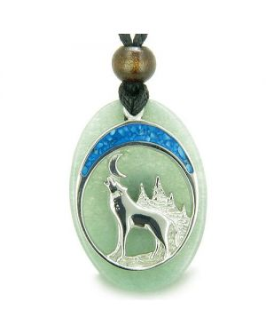 Howling Wolf and Moon Amulet Good Luck Powers Green Aventurine Gemstone Pendant Necklace