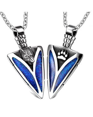 Arrowhead Howling Wolf and Wild Paw Love Couples or Best Friends Amulet Set Sparkling Royal Blue Necklaces