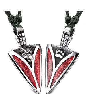 Arrowhead Howling Wolf and Paw Love Couples Best Friends Amulets Sparkling Royal Red Adjustable Necklaces