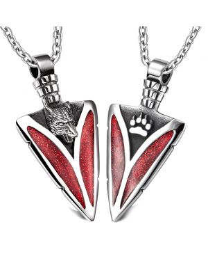 Arrowhead Howling Wolf and Wild Paw Love Couples or Best Friends Amulet Set Sparkling Royal Red Necklaces