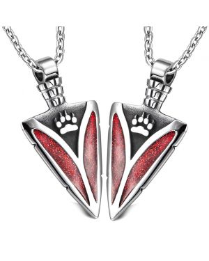 Arrowhead Wild Wolf Paw Love Couples Best Friends Set Protection Amulets Sparkling Royal Red Necklaces