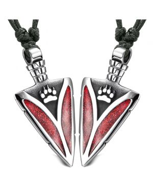 Arrowhead Wild Wolf Paw Love Couples Best Friends Set Amulets Sparkling Royal Red Adjustable Necklaces