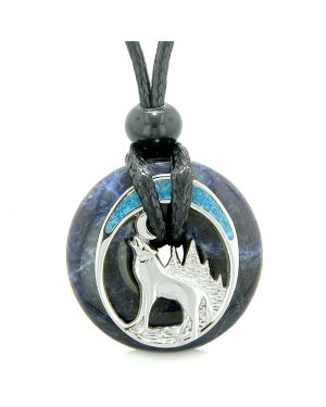 Unique Magic Howling Wolf Moon Amulet Lucky Donut Sodalite Spiritual Protection Powers Necklace