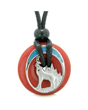 Unique Magic Howling Wolf Moon Amulet Lucky Donut Cherry Red Quartz Spiritual Protection Powers Necklace