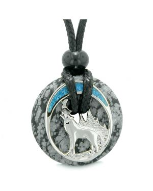 Unique Magic Howling Wolf Moon Amulet Lucky Donut Snowflake Obsidian Spiritual Protection Powers Necklace