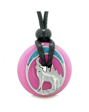 Unique Magic Howling Wolf Moon Amulet Lucky Donut Hot Pink Quartz Spiritual Protection Powers Necklace