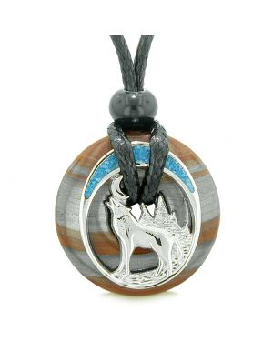 Unique Magic Howling Wolf Moon Amulet Lucky Donut Dragon Eye Iron Spiritual Protection Powers Necklace
