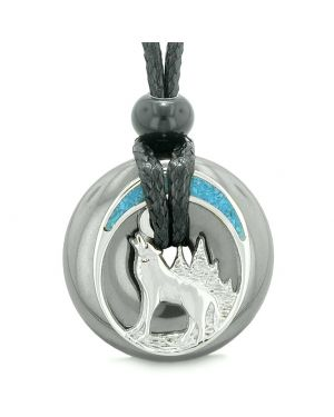 Unique Magic Howling Wolf Moon Amulet Lucky Donut Hematite Spiritual Protection Powers Necklace