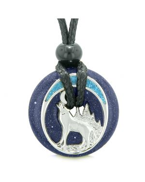 Unique Magic Howling Wolf Moon Amulet Lucky Donut Blue Goldstone Spiritual Protection Powers Necklace