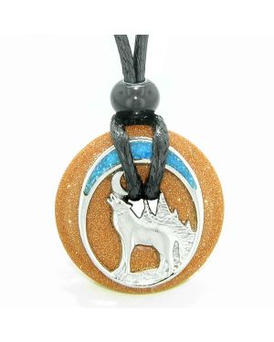 Unique Magic Howling Wolf Moon Amulet Lucky Donut Goldstone Spiritual Protection Powers Necklace