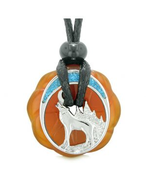 Unique Magic Howling Wolf Moon Amulet Lucky Celtic Donut Carnelian Spiritual Protection Powers Necklace