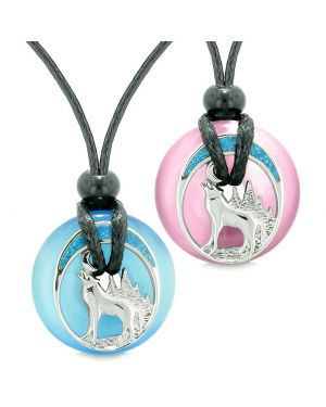 Unique Howling Wolf Moon Magic Amulet Lucky Donuts Love Couples Blue Pink Simulated Cats Eye Necklaces