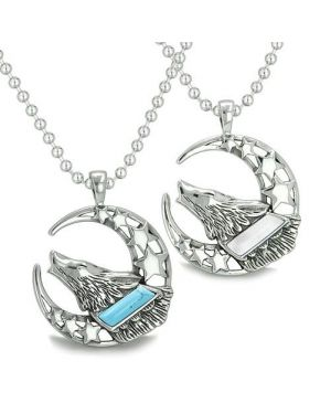 Amulets Love Couple Best Friends Howling Wolf Moon Stars Earth Turquoise White Cats Eye Necklaces