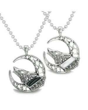 Amulets Love Couple Best Friends Howling Wolf Moon Stars Positive Earth Onyx White Eye Necklaces
