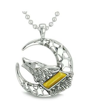 Howling Courage Wolf Moon Stars Amulet Positive Earth Energy Tiger Eye Protection Pendant Necklace