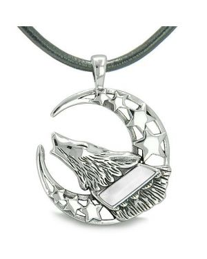 Howling Courage Wolf Moon Stars Amulet Positive Earth Energy White Eye Protection Pendant Necklace