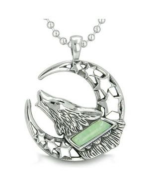 Howling Courage Wolf Moon Stars Amulet Positive Earth Energy Aventurine Protection Pendant Necklace