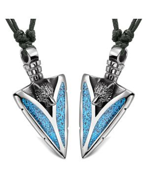 Arrowhead Howling Wolf Love Couples or Best Friends Amulets Set Simulated Turquoise Adjustable Necklaces