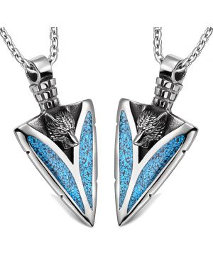 Arrowhead Howling Wolf Love Couples or Best Friends Protection Amulets Set Simulated Turquoise Necklaces