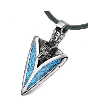 Arrowhead Howling Wolf Courage Power Protection Amulet Charm Simulated Turquoise Pendant Leather Necklace