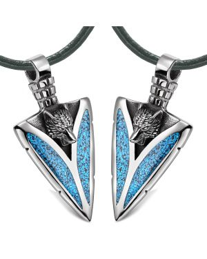 Arrowhead Howling Wolf Love Couples or Best Friends Amulets Set Simulated Turquoise Leather Necklaces