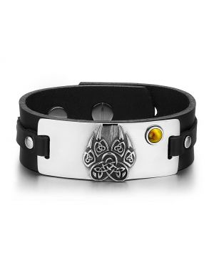 Aztecs Ancient Celtic Knots Wolf Paw Amulet Tiger Eye Gemstone Adjustable Black Leather Bracelet