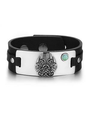 Aztecs Ancient Celtic Knots Wolf Paw Amulet Green Quartz Gemstone Adjustable Black Leather Bracelet