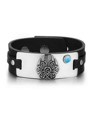 Aztecs Ancient Celtic Knots Wolf Paw Amulet Simulated Turquoise Adjustable Black Leather Bracelet