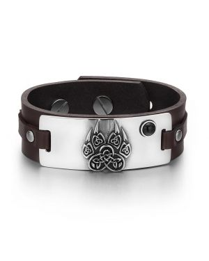 Aztecs Ancient Celtic Knots Wolf Paw Amulet Simulated Black Onyx Adjustable Brown Leather Bracelet