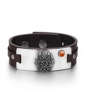 Aztecs Ancient Celtic Knots Wolf Paw Amulet Red Jasper Gemstone Adjustable Brown Leather Bracelet