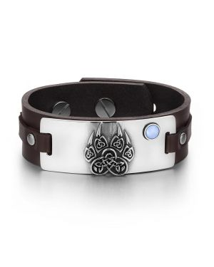 Aztecs Ancient Celtic Knots Wolf Paw Amulet Blue Simulated Cats Eye Brown Leather Bracelet
