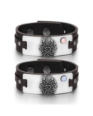 Aztecs Celtic Knots Wolf Paw Amulets Love Pink Blue Simulated Cats Eye Brown Leather Bracelets