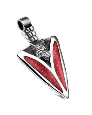 Arrowhead Howling Wolf Courage Powers Protection Amulet Charm Sparkling Royal Red Pendant