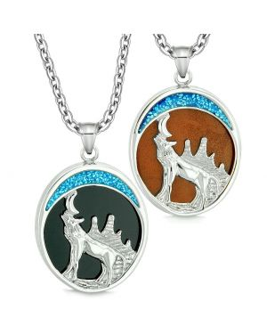 Howling Wolf Wild Woods Moon Love Couples or Best Friends Simulated Onyx and Red Jasper Necklaces
