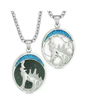 Howling Wolf Woods Love Couples or Best Friends Blue Goldstone Simulated White Turquoise Necklaces