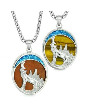 Howling Wolf Wild Woods Moon Love Couples or Best Friends Red Jasper and Tiger Eye Necklaces