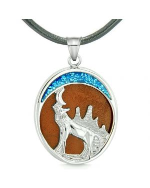 Howling Wolf and Wild Woods Moon Magic Protection Powers Amulet Red Jasper Pendant Leather Necklace