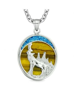 Howling Wolf and Wild Woods Moon Magic Protection Powers Amulet Tiger Eye Pendant 18 Inch Necklace
