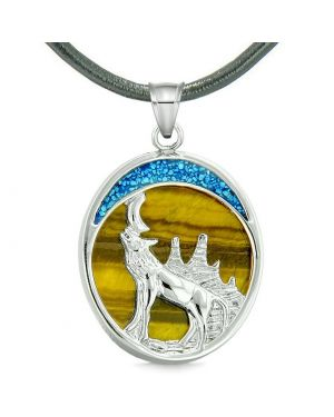 Howling Wolf and Wild Woods Moon Magic Protection Powers Amulet Tiger Eye Pendant Leather Necklace